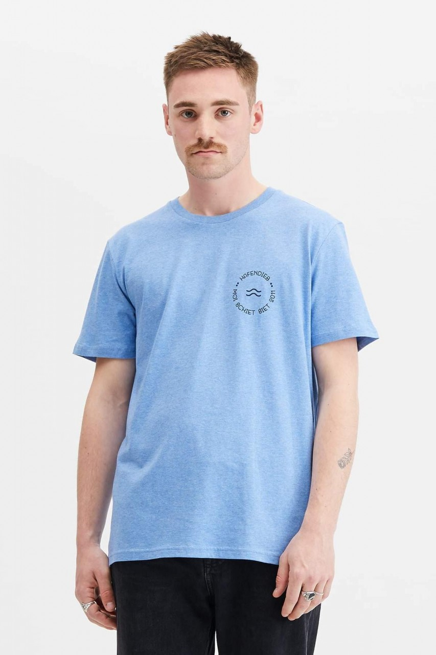 Hafendieb Welle Retro Männer T-Shirt blau meliert
