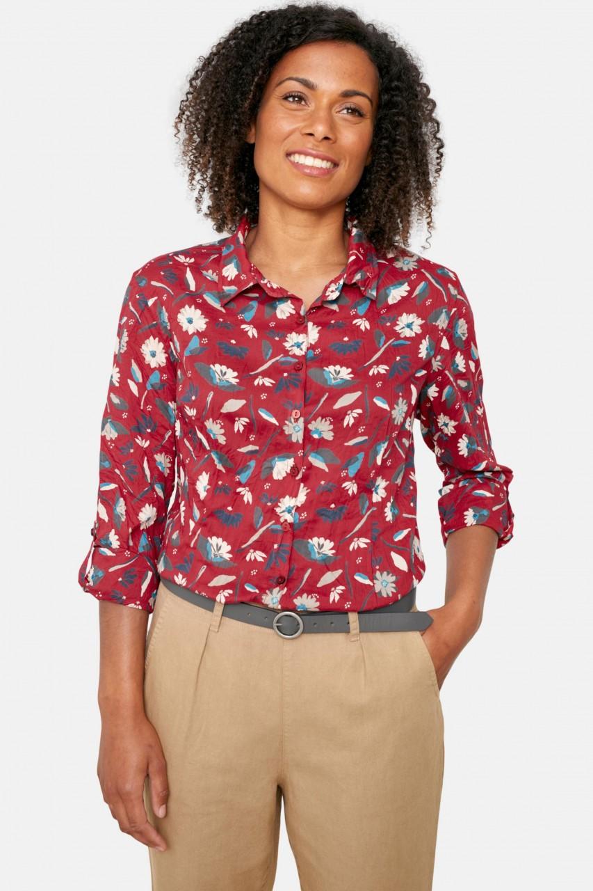 Seasalt Cornwall Larissa Shirt Torn Medley Fireglow Blumen Damen Bluse Rot