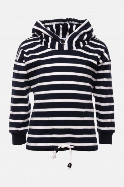 Bretonisches Kinder-Kapuzenshirt - blau/weissgestreift