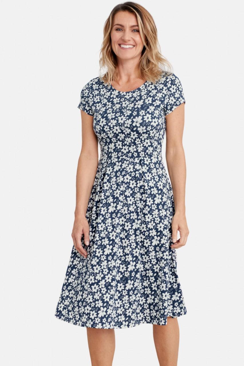 Seasalt Cornwall Riviera Dress Sea Spurrey Harbour Damen Kleid Blumen Blau Weiss Hanseheld De
