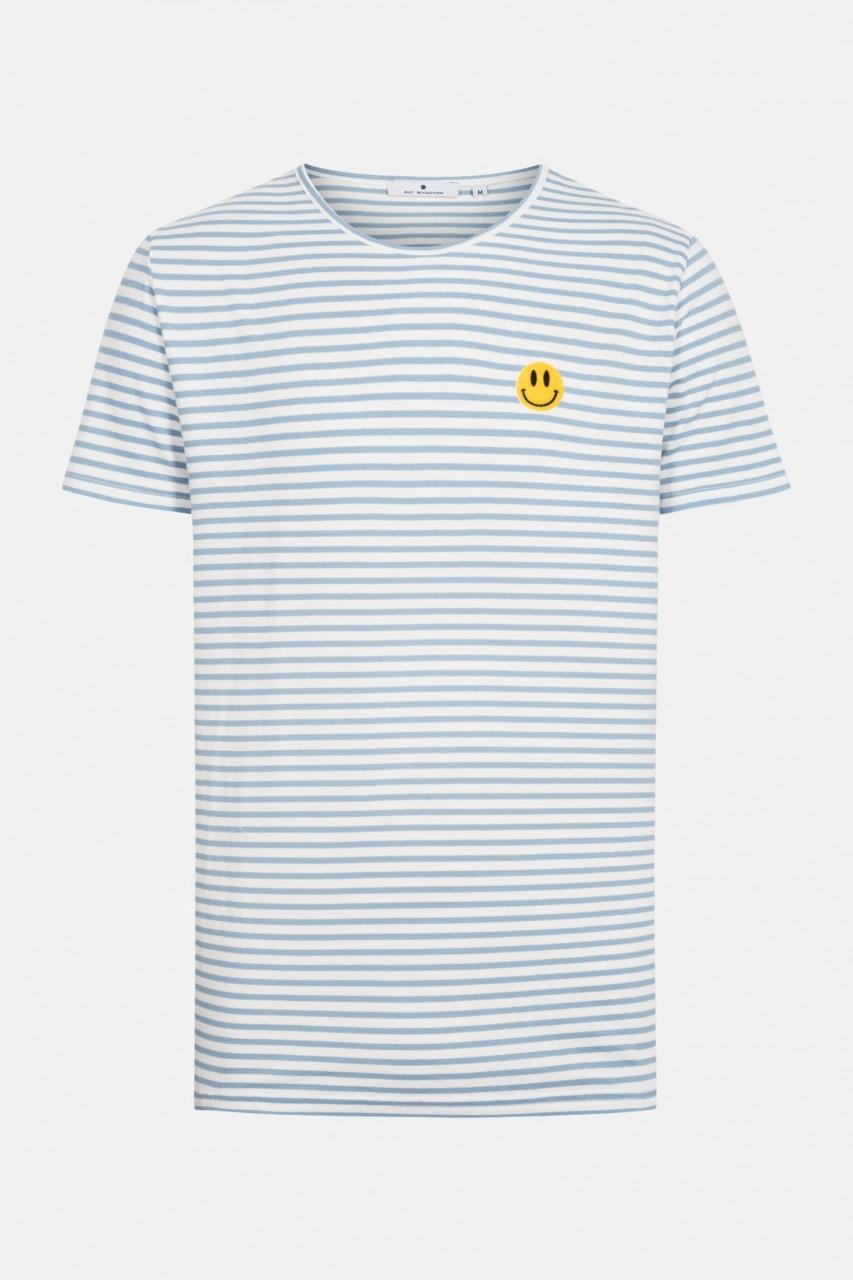 RVLT Revolution Herren T-Shirt Smile Blau Gestreift