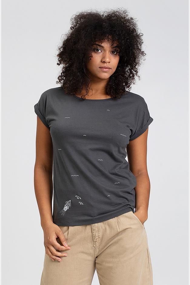 Hafendieb Schoner Frauen T-Shirt Charchoal Anthrazit Dunkelgrau