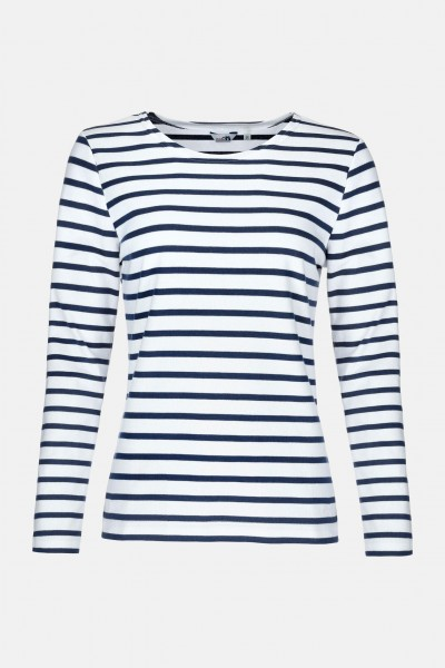 newest e083e 6ebc5 Streifenshirt Damen Langarm Weiß-Blau Gestreift Ringelshirt