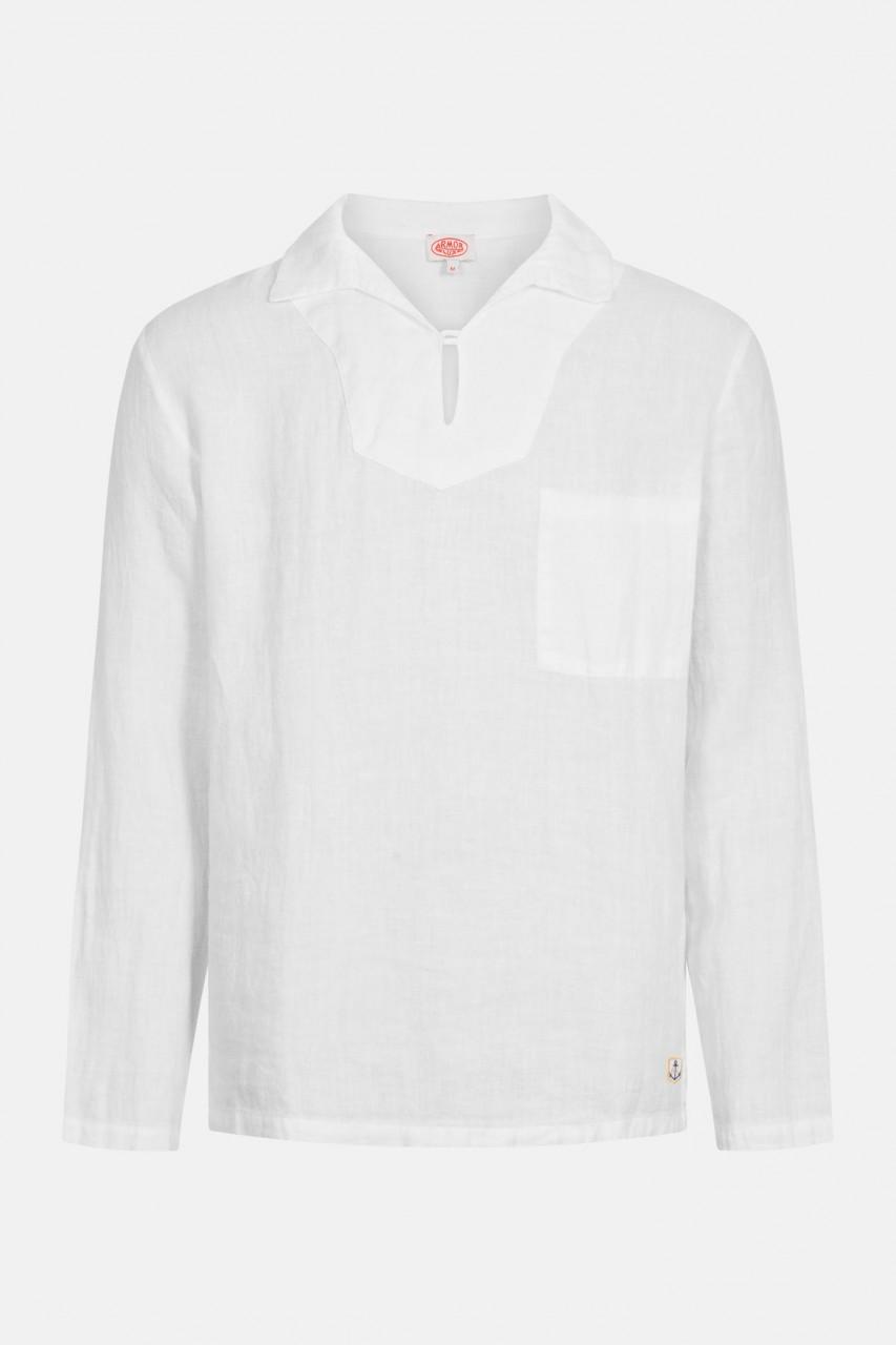 Armor Lux Fischerhemd Vareuse en Lin Heritage Weiß Leinen