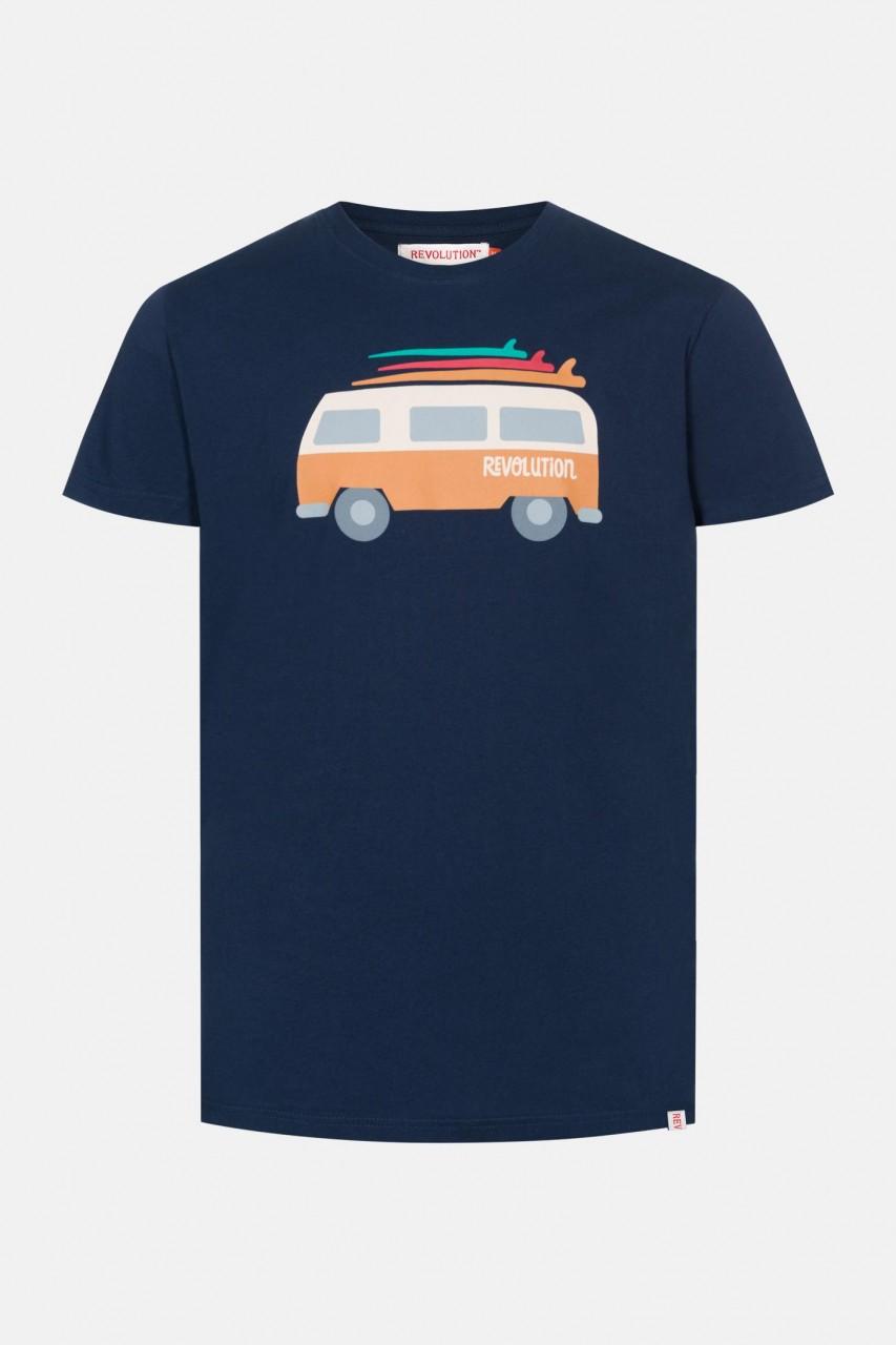 RVLT Revolution Van Herren T-Shirt Navy Dunkelblau Bus
