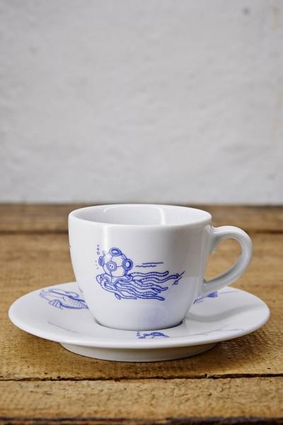 Ahoi Marie Espressotasse und Untertasse Fischschwarm