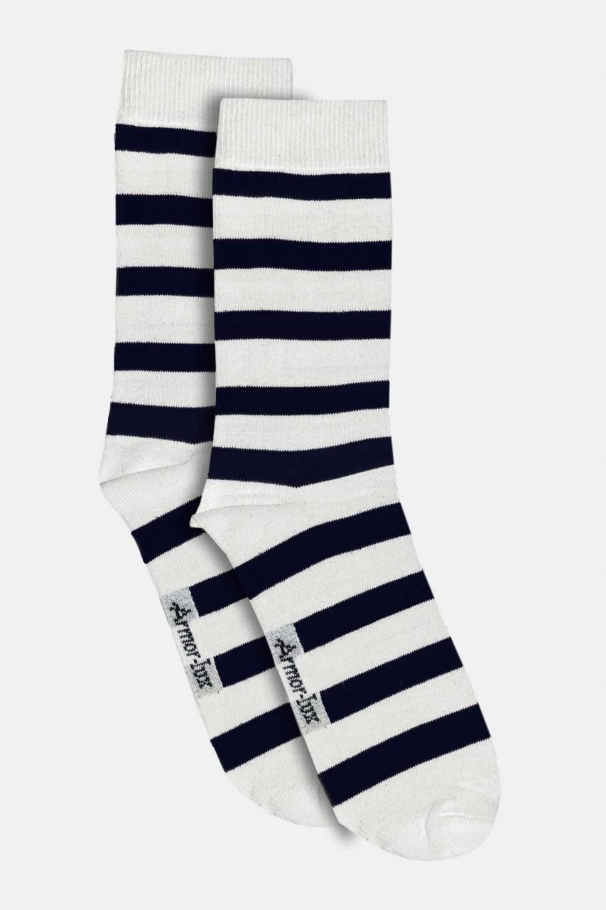 Armor Lux Damen Socken Weiß Blau Gestreift Chaussettes Nona