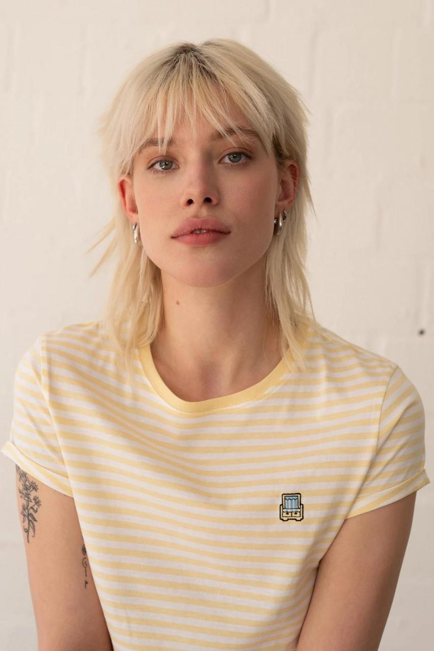 Hafendieb Strandkorb Damen T-Shirt Light Yellow Streifen Gelb