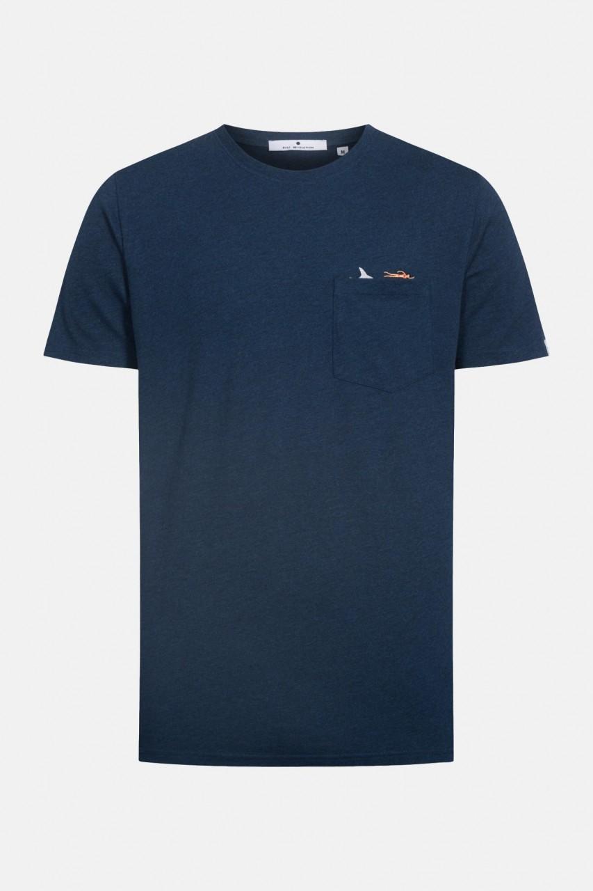 RVLT Revolution Herren T-Shirt JAW Hai Schwimmer Dunkelblau Melange