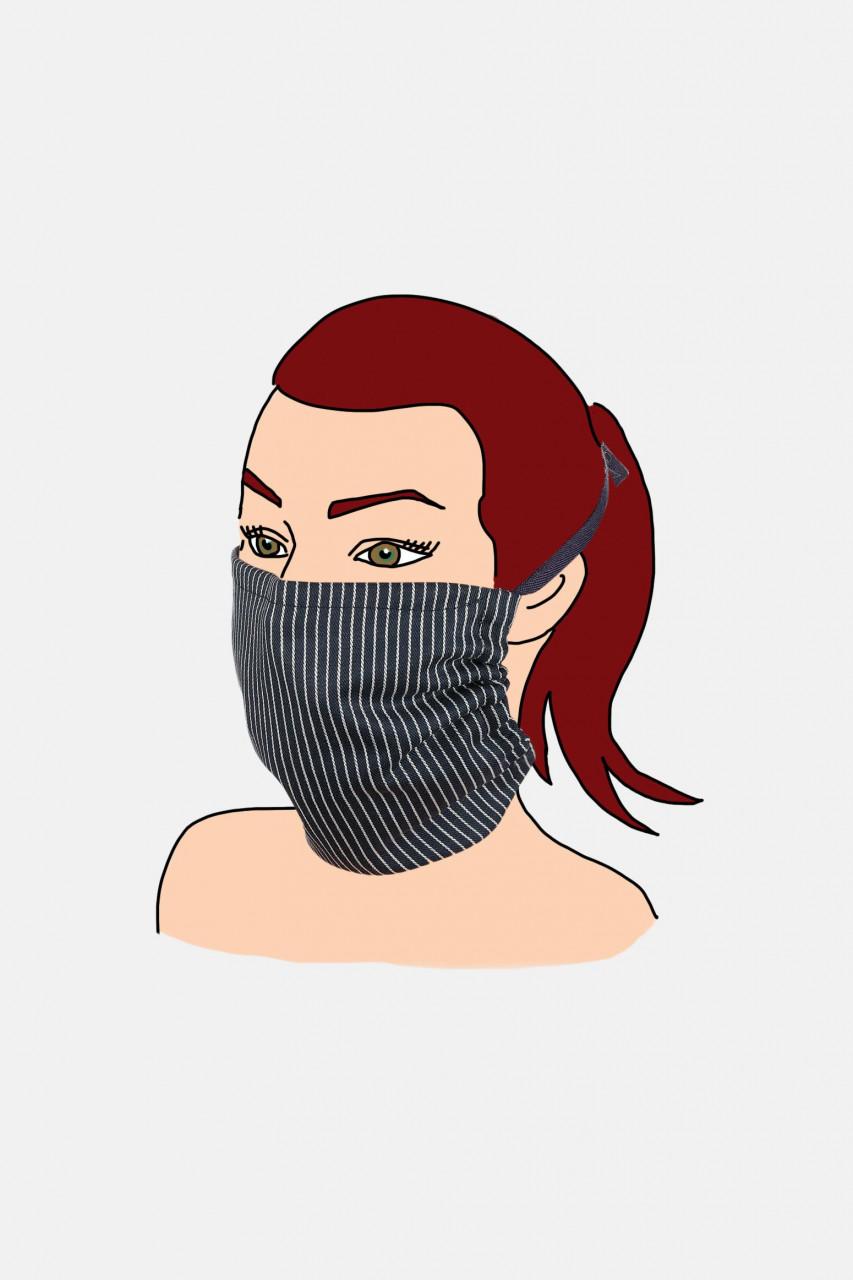Mund- und Nasenmaske zum Binden Blau Baumwolle Gestreift Fischerhemd-Stoff