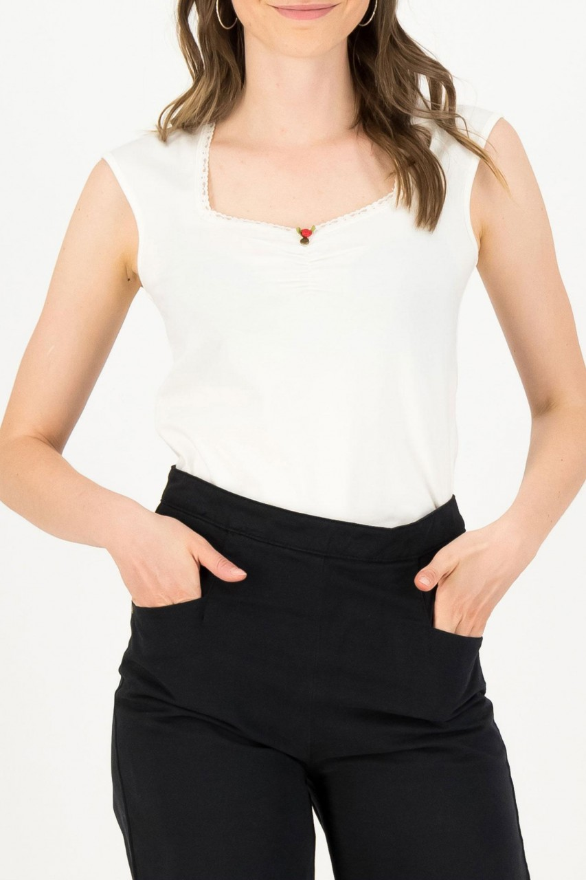 Blutsgeschwister Top Weiß Logo Romance Essential White Damen Shirt