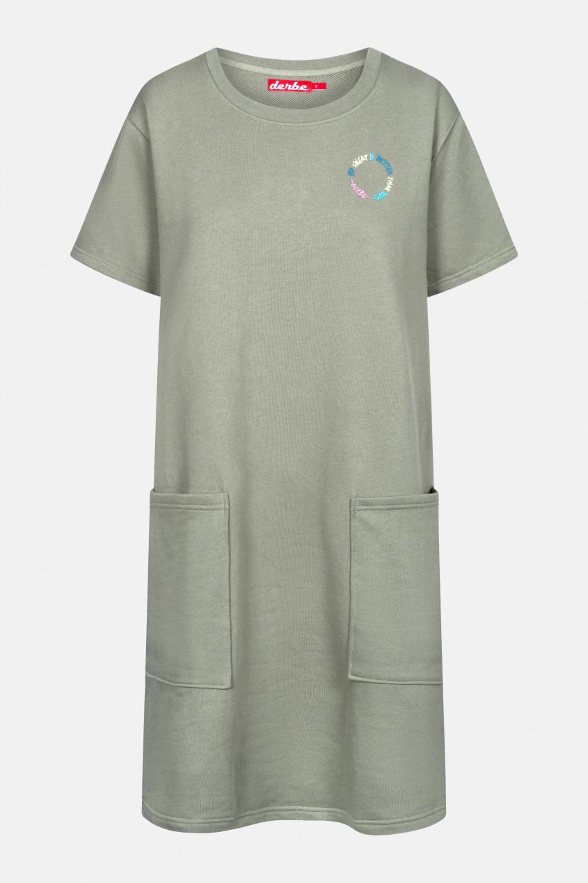 Derbe Dress Sweat Damen Pulloverkleid Light Oliv