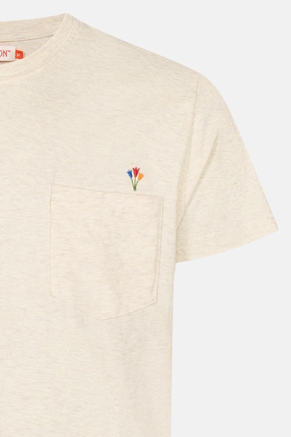 RVLT Revolution Flo Regular Herren T-Shirt Offwhite Beige Flowers Blumen