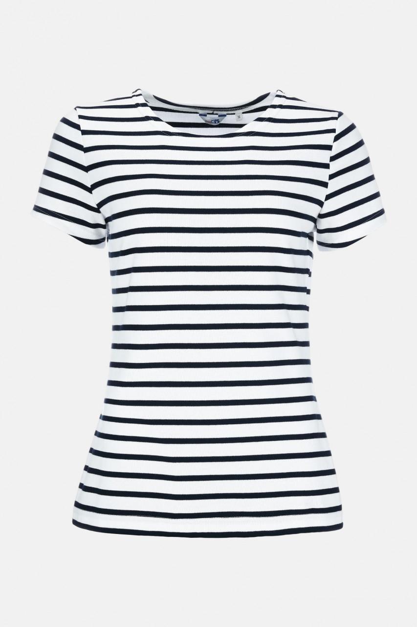 Streifenshirt Damen Kurzarm Weiß-Blau gestreift Ringelshirt