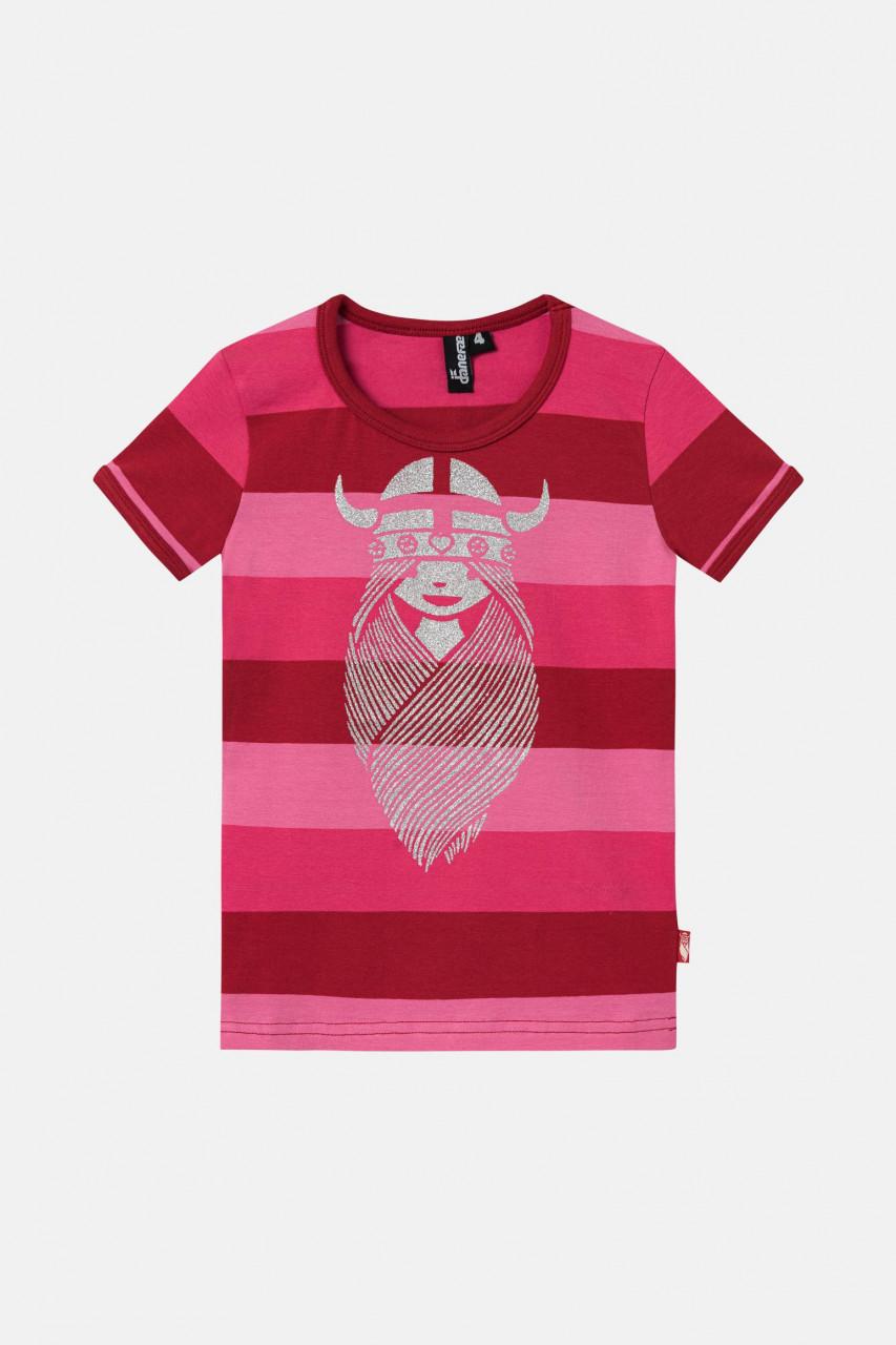 Danefae Rainbow Ringer Kinder T-Shirt Wikinger Freja Rosa Pink Gestreift