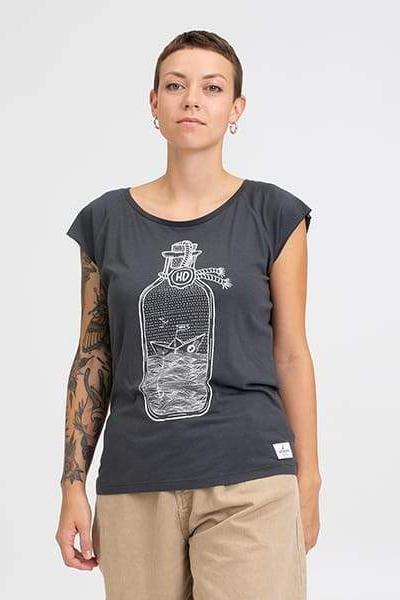 Hafendieb Buddelschiff Frauen Shirt Charcoal Grau