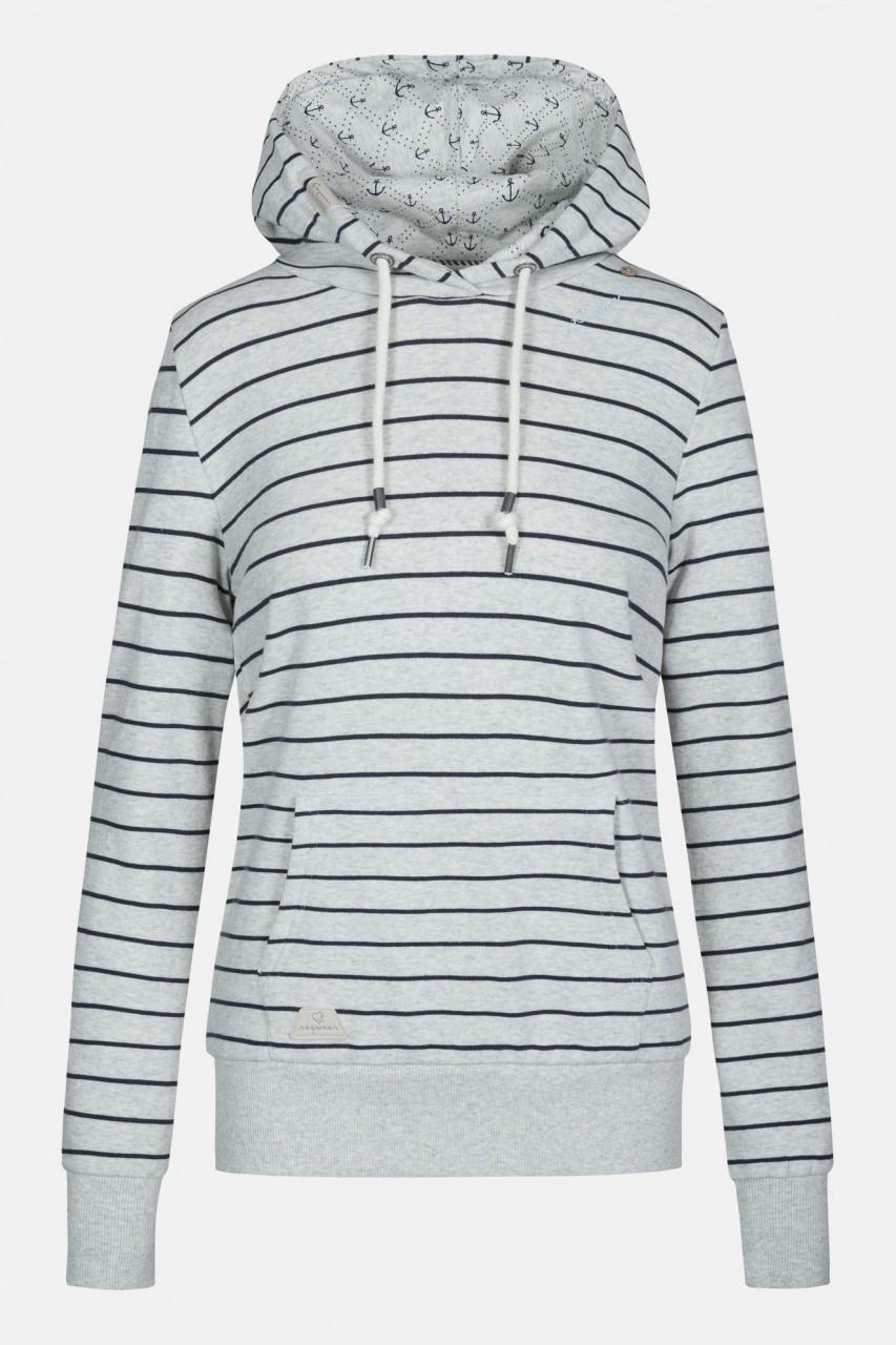 Ragwear Berit Stripes Damen Kapuzenpullover Weiß Streifen Anker