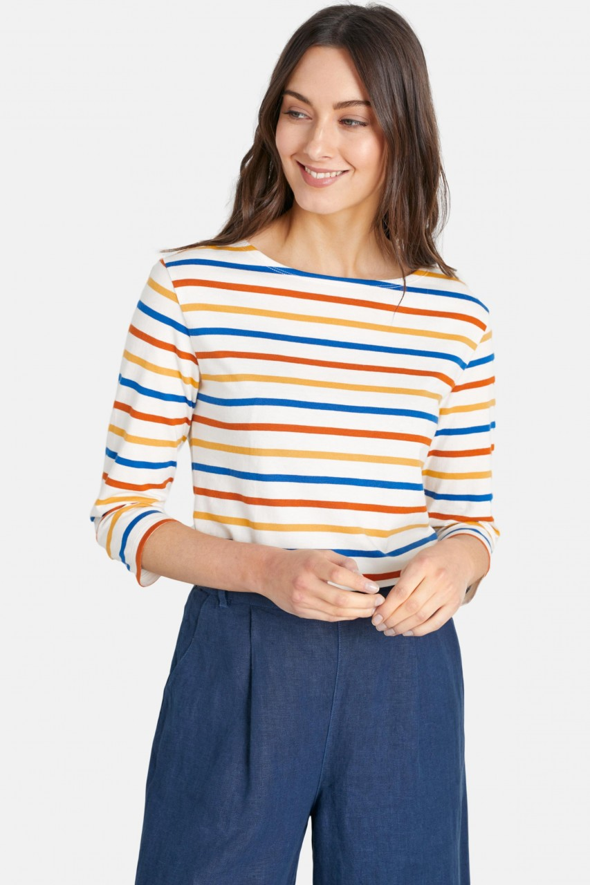 Seasalt Cornwall Sailor Top Tri Breton Sandstone Blau Gelb Orange