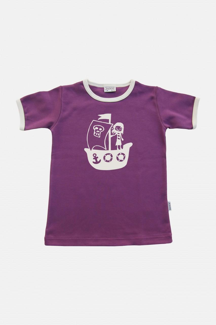 Kinder Kurzarm Shirt lila-weiß Motiv Piratin
