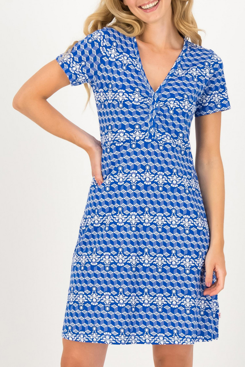 Blutsgeschwister Kleid Delft Small And Fijn Dress Holland Blau Weiß