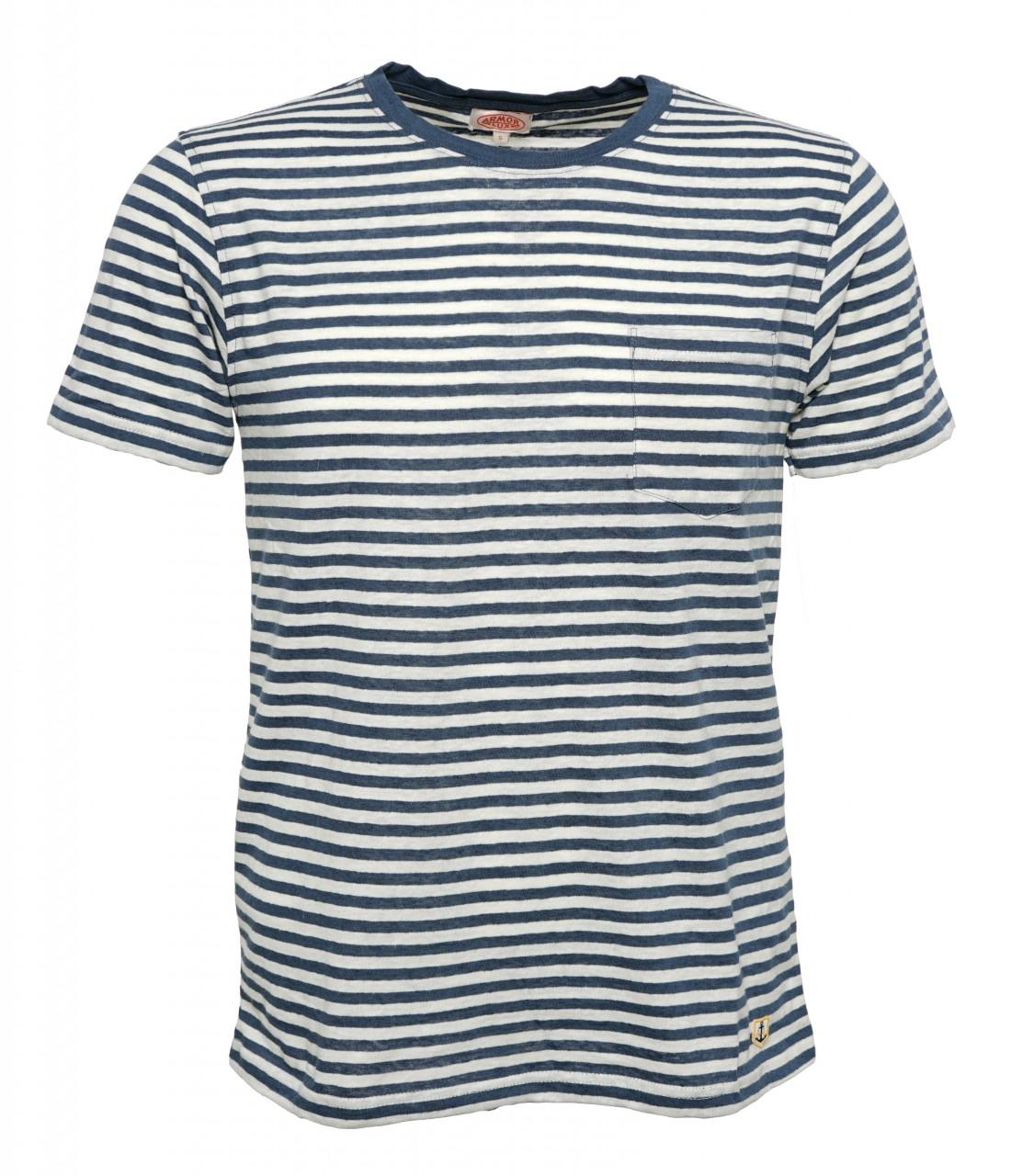 Armor Lux Streifen-T-Shirt Herren mit Leinen Blau-Weiß Heritage