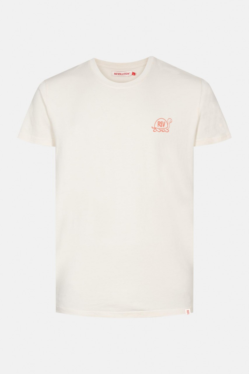 RVLT Revolution Slo Herren T-Shirt Offwhite Beige Schildkröte