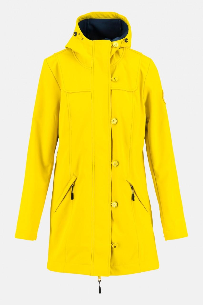Blutsgeschwister Wild Weather Long Anorak Friesian Breeze Gelb Damen Softshell Jacke