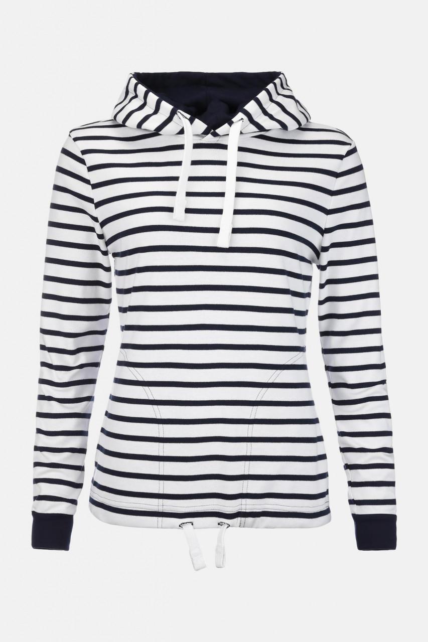 Damen Kapuzen-Shirt Weiss-Blau Gestreift Baumwolle