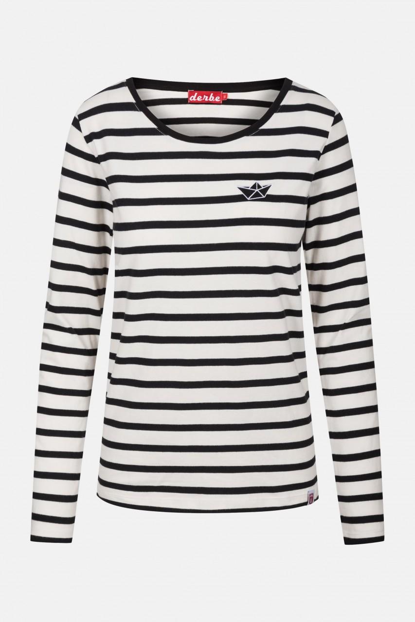 Derbe Streifenshirt Small Ship Schwarz Damen Langarm