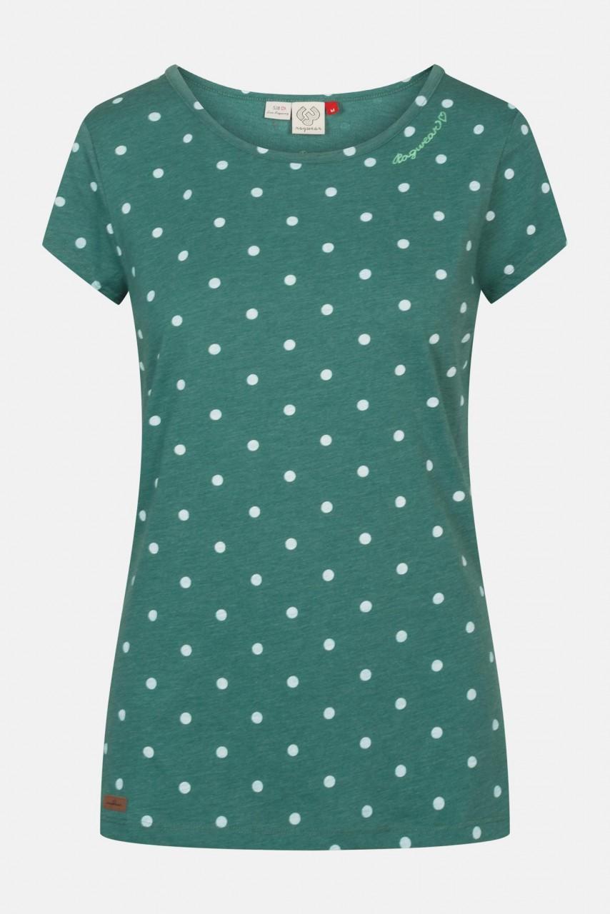 Ragwear Mint Dots Dark Green Damen Shirt Grün Punkte