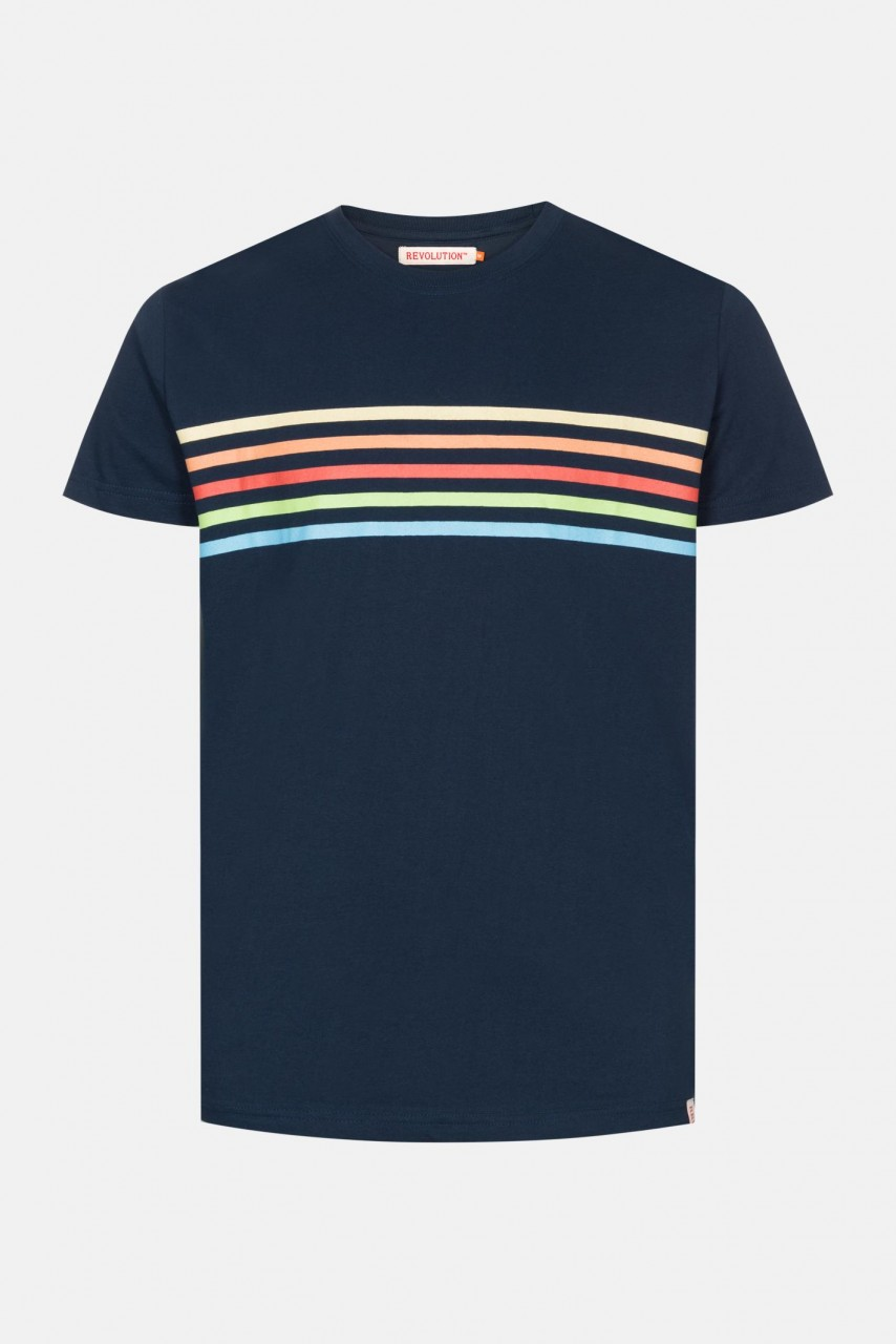 RVLT Revolution Rai Herren T-Shirt Navy Dunkelblau Streifen