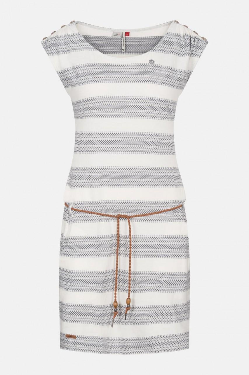 Ragwear Chego White Damen Kleid Gestreift Weiß