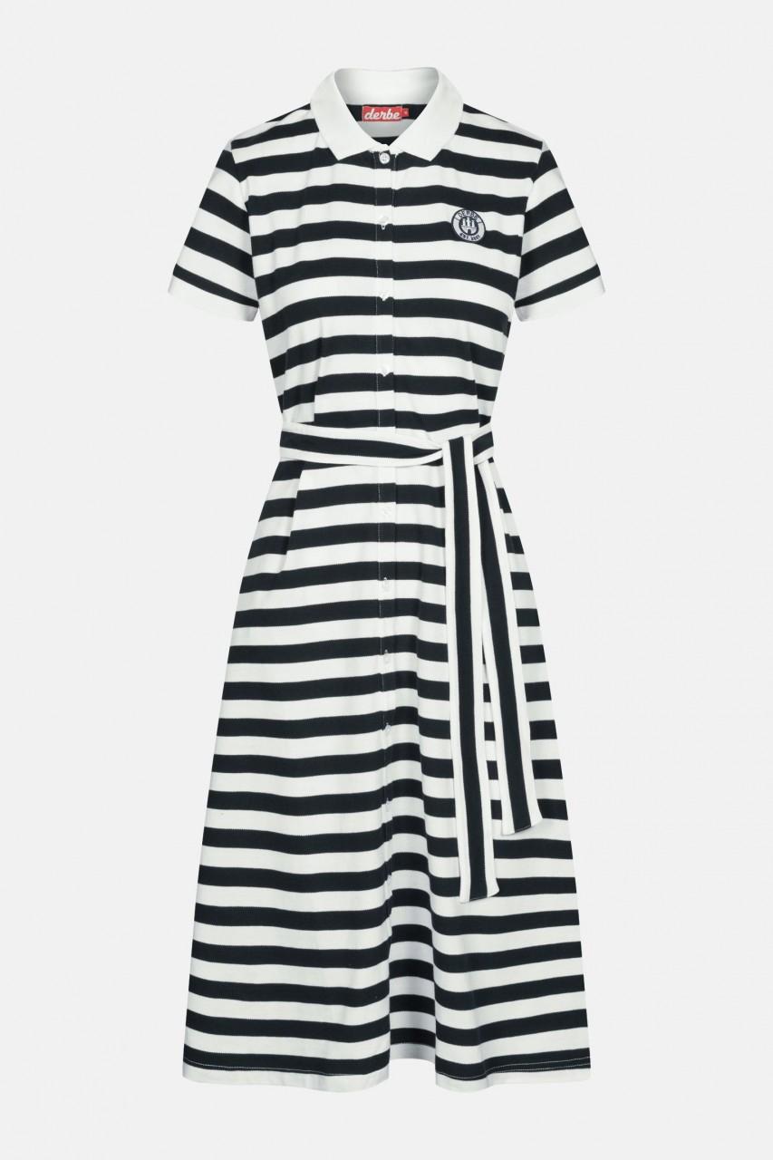 Derbe Polo Dress Damen Kleid Streifen Navy Blau Weiß