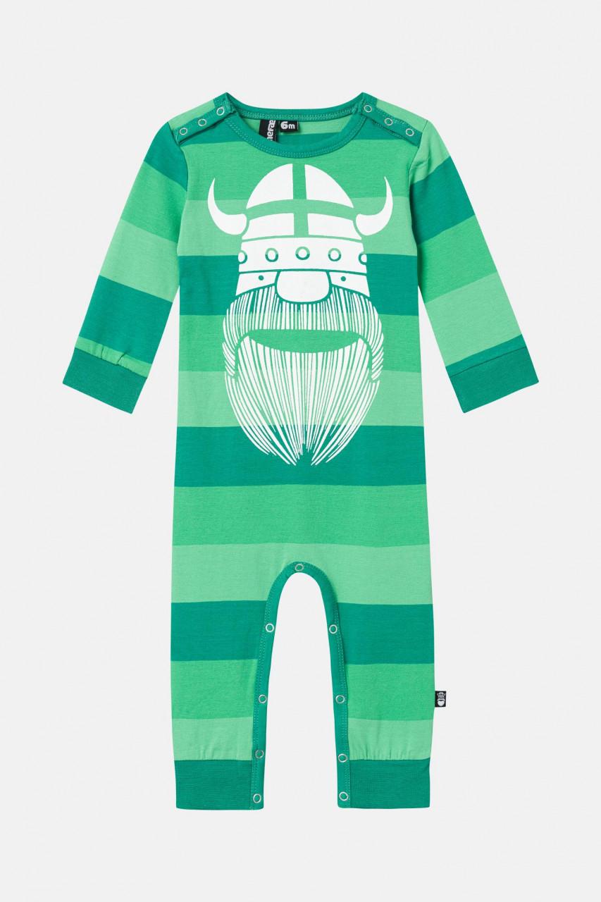 Danefae Wikinger Baby-Body Langarm Grün Orkan Suit Gestreift