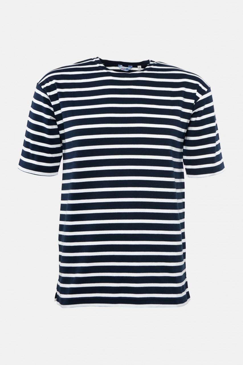 Streifenshirt Herren Kurzarm Blau-Weiß Gestreift Ringelshirt