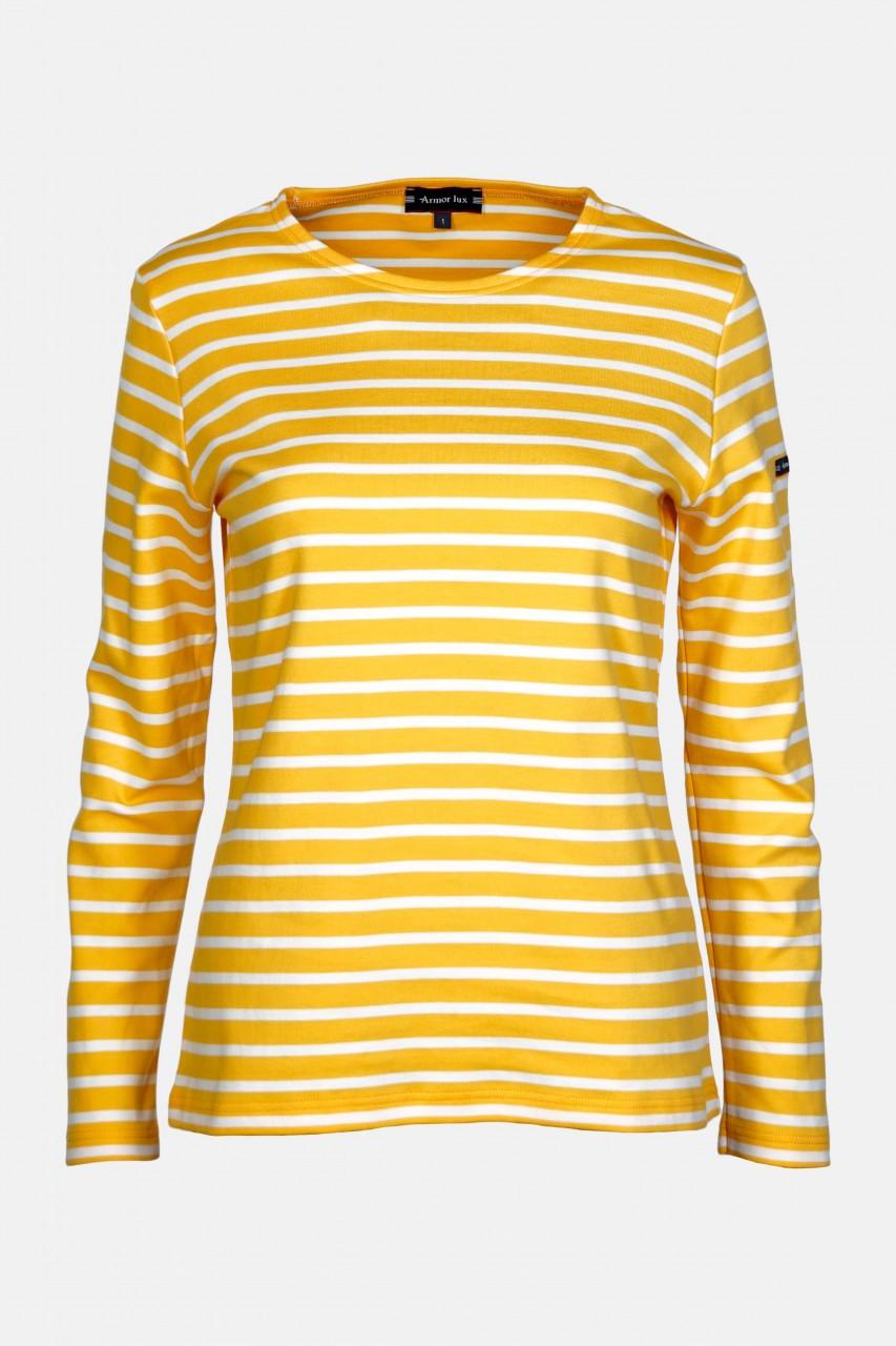 Armor Lux Lesconil Damen Streifenshirt Mango Gelb Weiß
