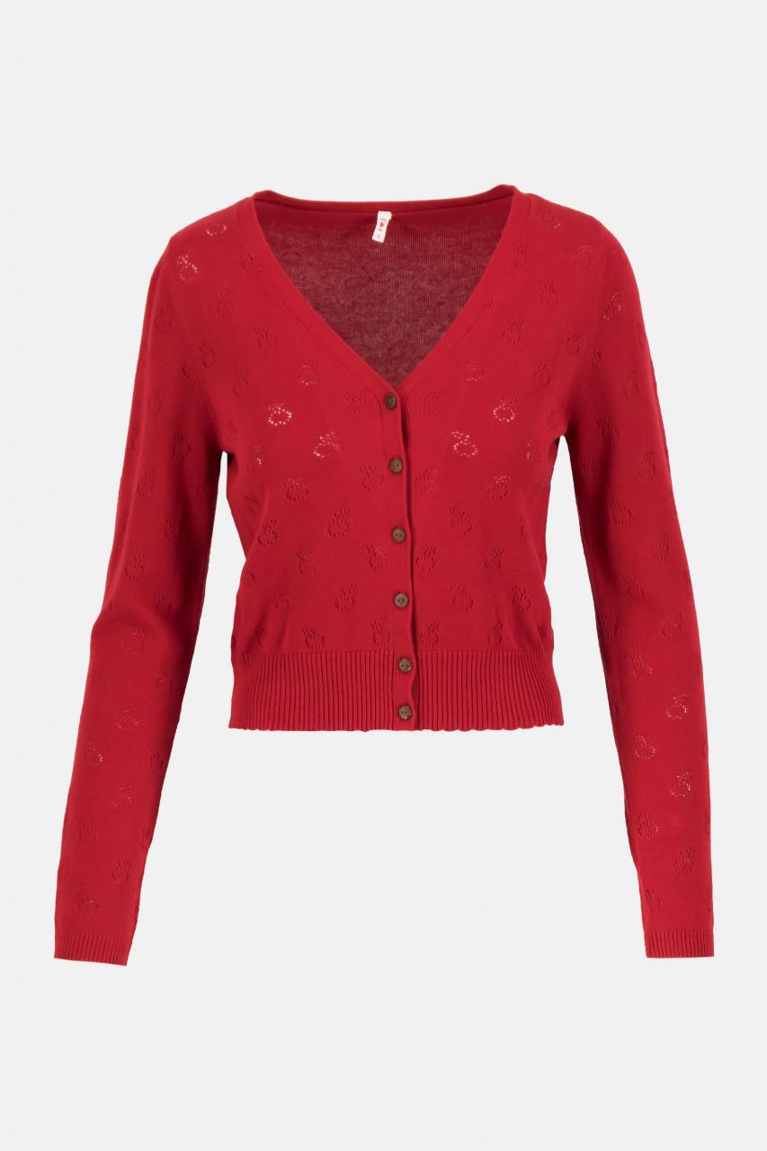 Blutsgeschwister Save The World Damen Cardigan Strickjacke Red Apple Pie Rot