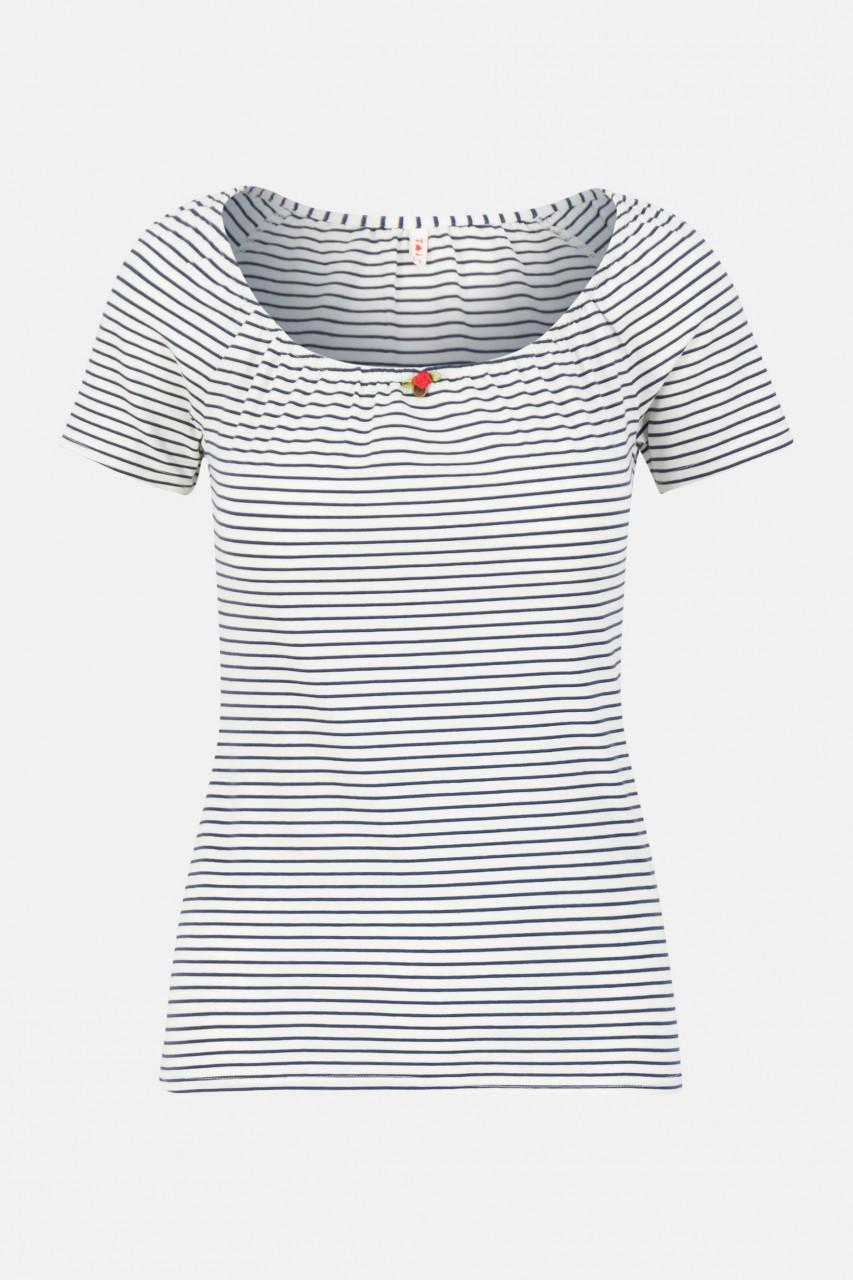 Blutsgeschwister T-Shirt Logo Stripe Heart Blue Blau Gestreift