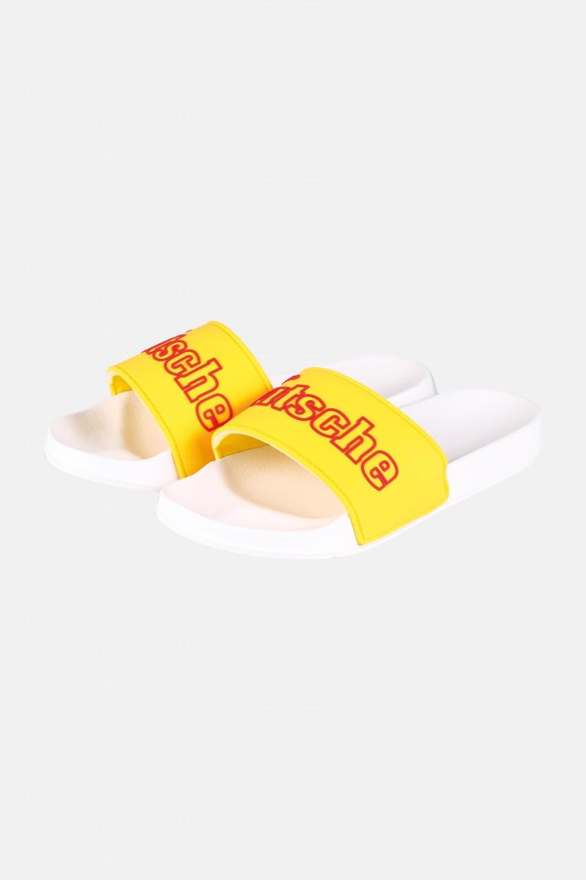 Derbe Buddellette Sutsche Schlappen Latschen Freesia Gelb Weiß Marine