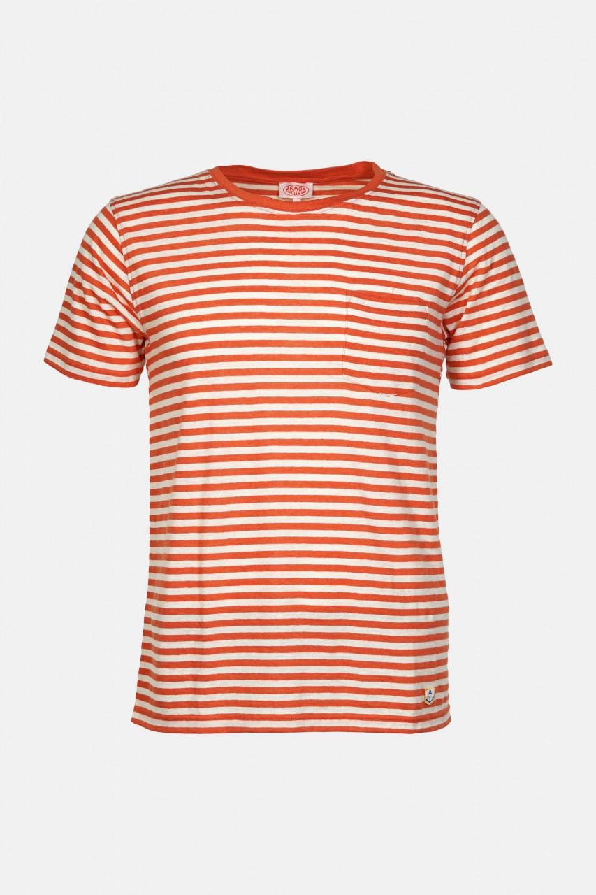 Armor Lux Herren T-Shirt Gestreift Orange Natur Heritage Brusttasche