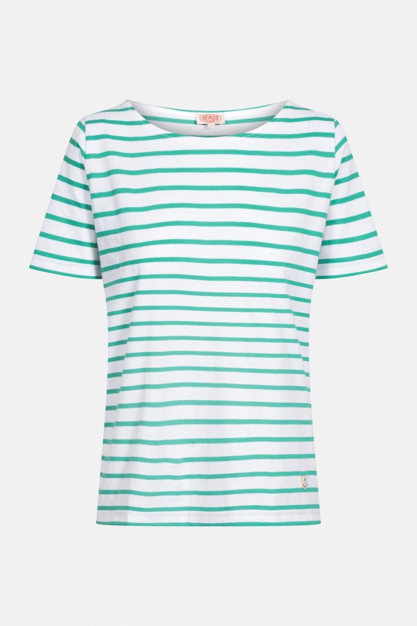 Armor Lux Damen T-Shirt Gestreift Weiß Grün Mariniere Hoedic