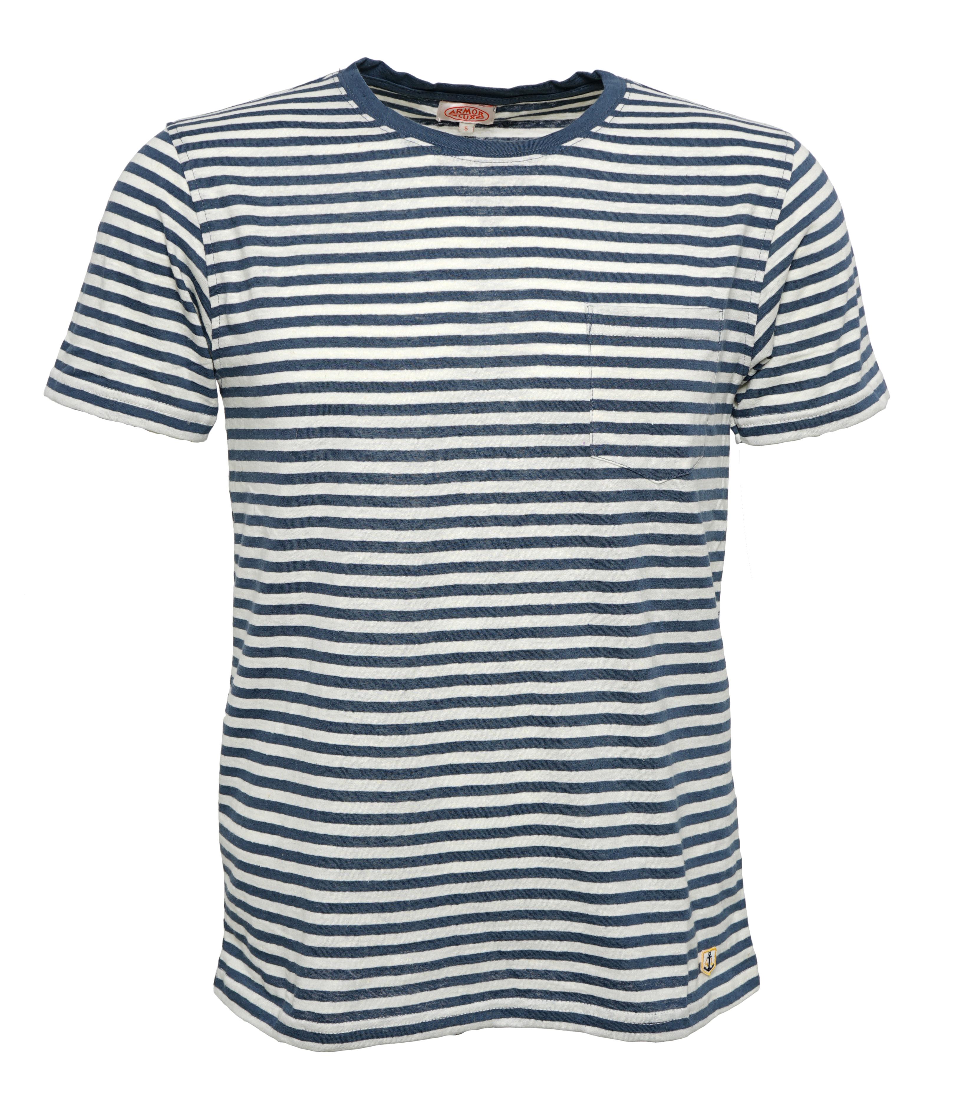 Armor Lux Streifen-T-Shirt Herren mit Leinen Blau-Weiß Heritage    Hanseheld.de b5ac97b280