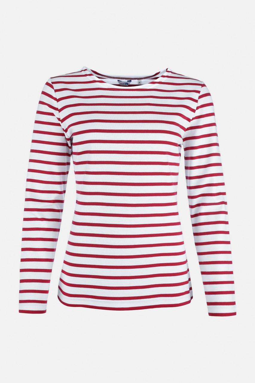 Streifenshirt Damen Langarm Weiß-Rot Gestreift Ringelshirt
