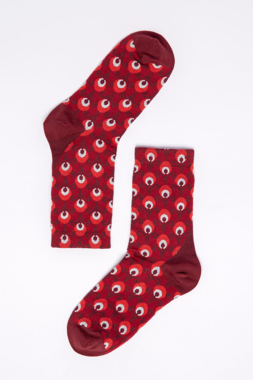 Blutsgeschwister Damen Socken Sensational Steps Red Retro Rot