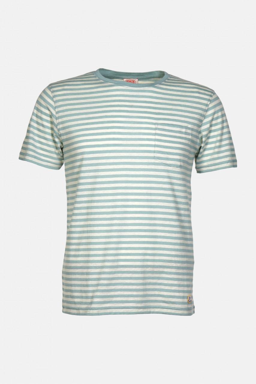 Armor Lux Herren T-Shirt Gestreift Mint Petrol Natur Heritage Brusttasche