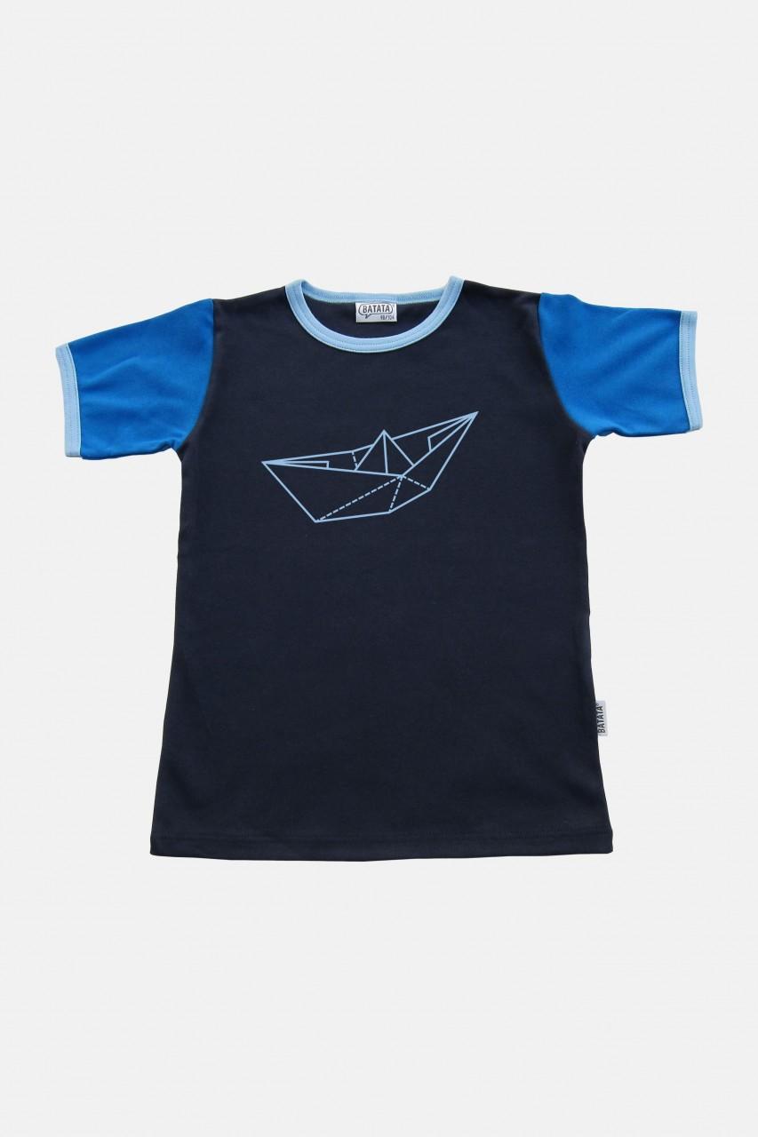 T-Shirt, Papierschiff, Navy-Blau