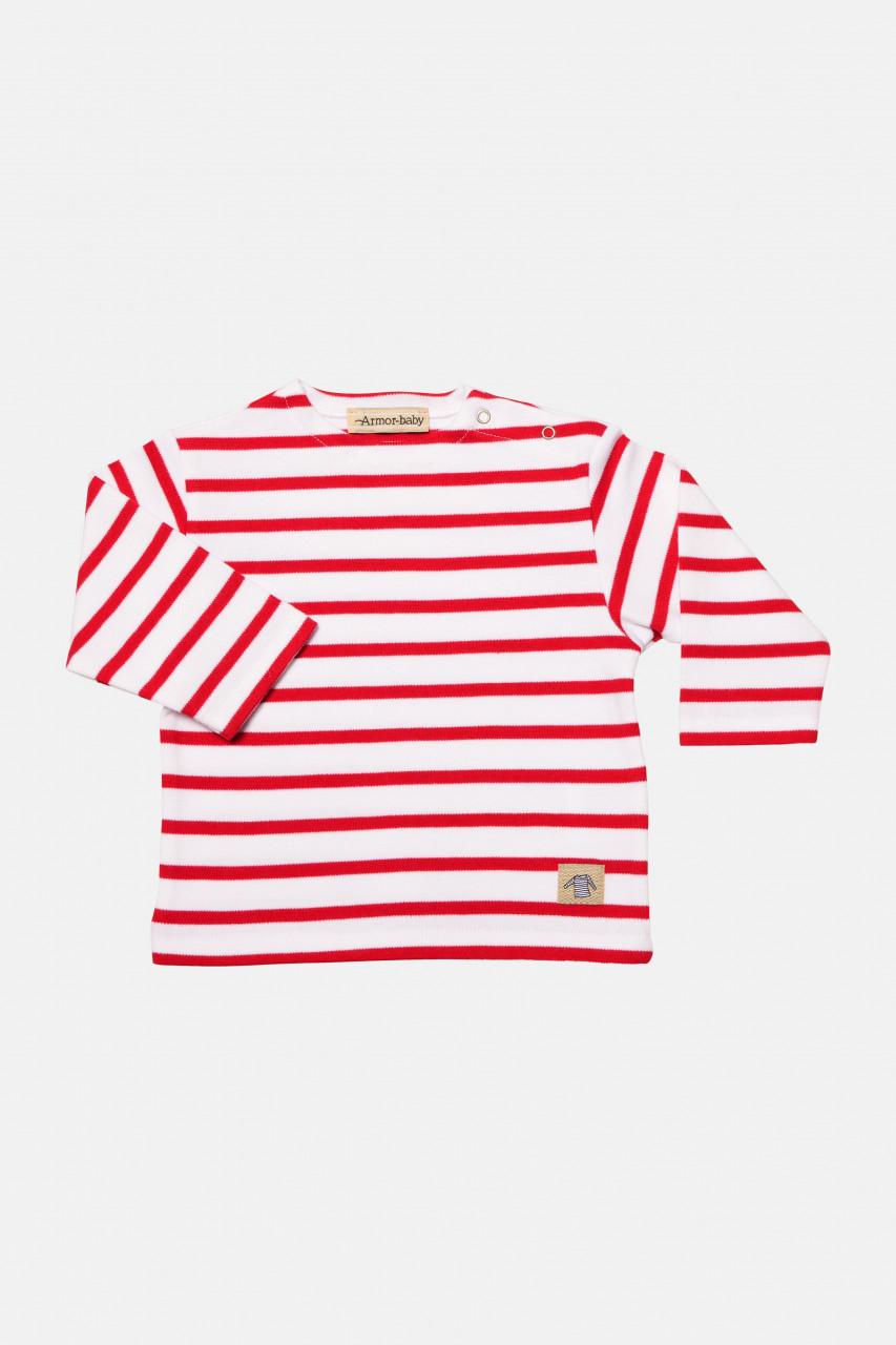 Armor Lux Baby-Streifenshirt weiß-rot Loctudy Baby