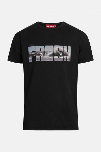 Derbe Fresh Herren Shirt Schwarz Welle