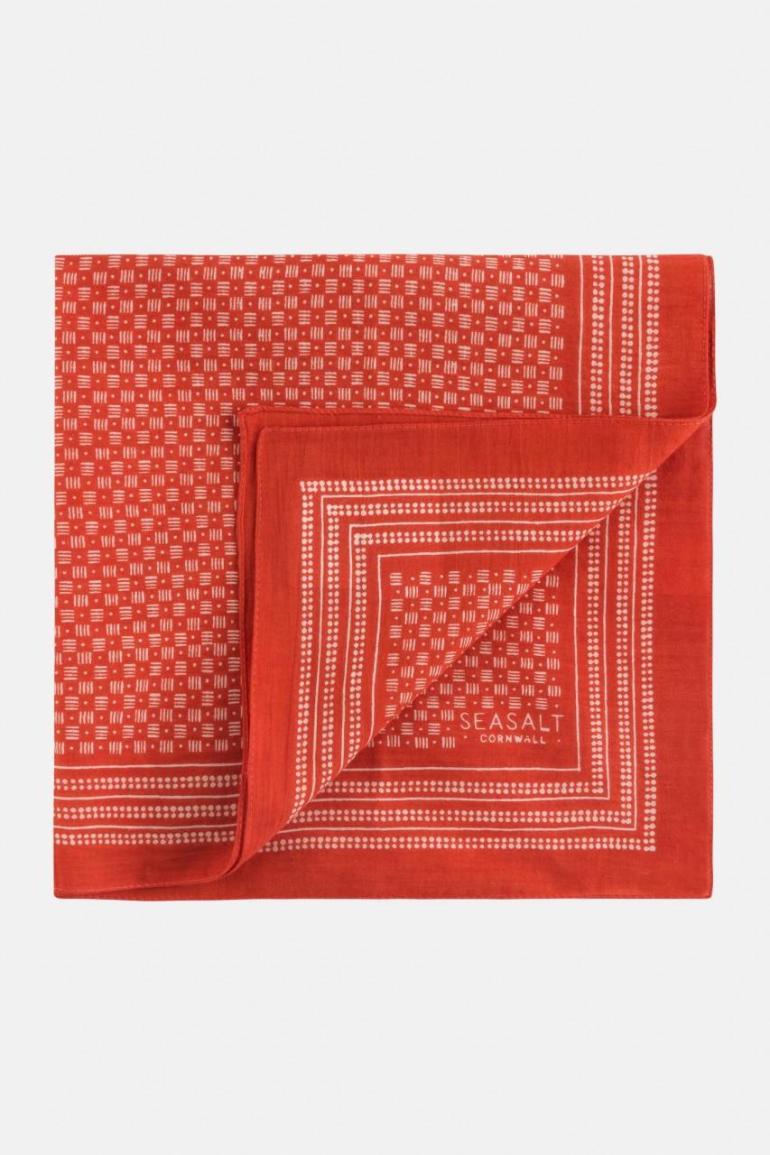 Seasalt Cornwall Sailor Square Halstuch Basket Weave Block Rot-Orange