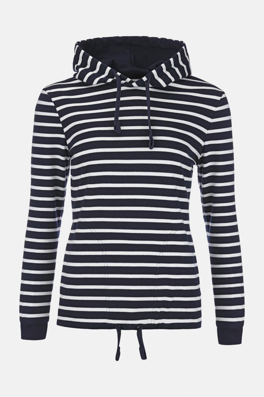 Damen Kapuzen-Shirt Blau Weiss Gestreift Baumwolle